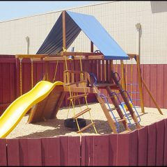 Children's playground outside of apartment complex.
